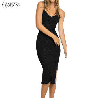 ZANZEA Women Sexy Midi Dress Sleeveless Spaghetti Straps V-Neck Casual Sold Split Backless Party Elegant Dress Vestido (Black)