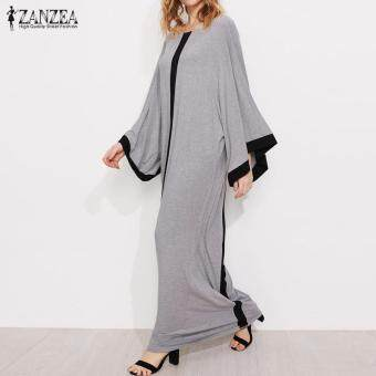 ZANZEA Women Striped Crew Neck Casual Loose Kaftan Vestido Vintage Ladies Flared Sleeve Party Long Maxi Dress Plus Size S-5XL (Grey)