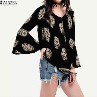 ZANZEA Womens Lace-Up V-Neck Shirt Oversized Boho Floral Print Flare Sleeve Casual Loose Blouse Tops (Black)