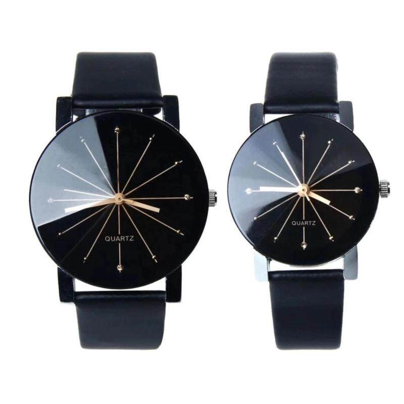 1 Pair of Couple Wrist Watch Casual PU Leather Round Dial Watchband (Black) Malaysia
