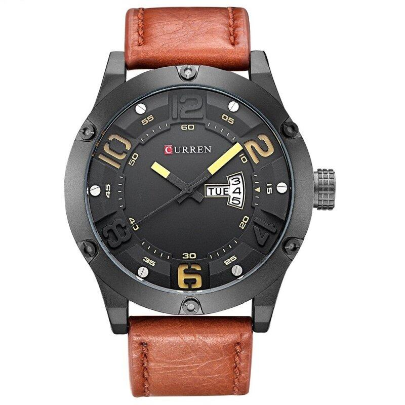 (100% Authentic) CURREN 8251 Original Brand Mens Sports Waterproof Leather Strap Date Week Watch (Yellow) Malaysia