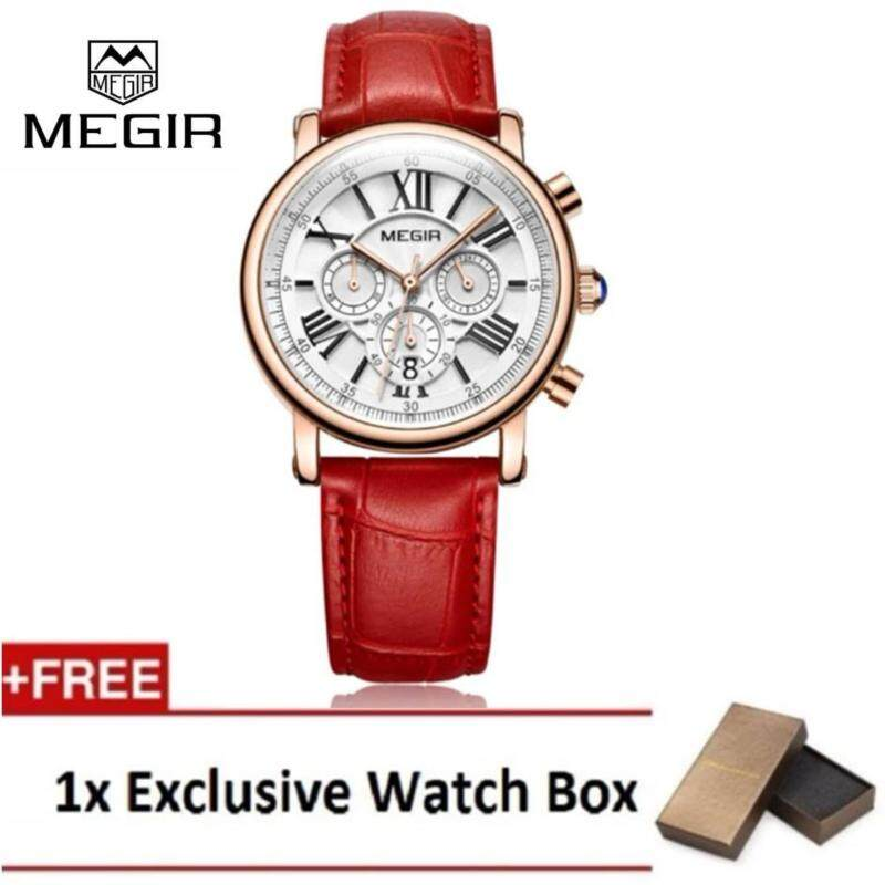 (100% Authentic) MEGIR Fashion Leather Women Watches Top Brand Luxury Ladies Quartz Watch Malaysia