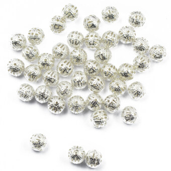 100pcs Round Metal Spacer Beads Jewelry DIY Loose Charms 8mm SilverWhite