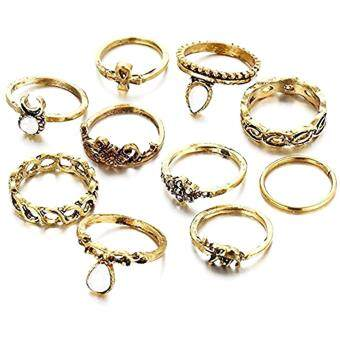 10pcs Gold Silver Flower Moon Stack Joint Ring Sets for Women BohoBeach Vintage Punk Band Above Midi Knuckle Rings(Gold)