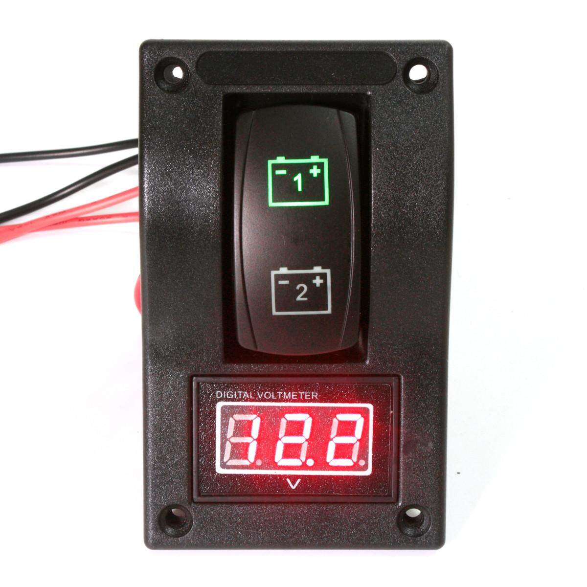 12 V DELUXE LED DUAL BATTERY TEST PANEL dengan VOLT/TEGANGAN CONDITION METER GAUGE-Intl