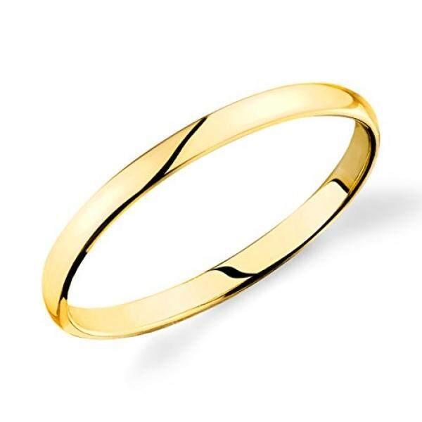 14 K Kuning Gold 2 Mm Polos Kawin Ringan Cincin Kenyamanan-Internasional