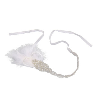 1920s Gatsby Headband Flapper Feather Hair Dress Bridal FascinatorHeadpiece