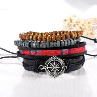 1Set 4Pcs Unisex Vintage Multilayer Leather Bracelets For Men Bohemian Braided wood Beads Bangles Adjustable Lover's Jewelry