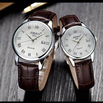 2 pcs Jam Tangan Quartz Pria Wanita Strap Kulit PU Men Women Leather Band Couple Wrist Watch (Dark Coffee/White)