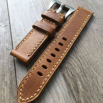 20mm/22mm/24mm retro leather panda Hai fold men's watch strap
