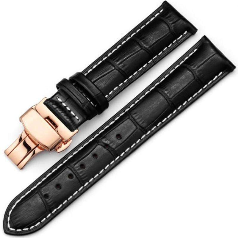 22mm Genuine Leather Watchband With Butterfly Buckle Bands Croco Grain Bracelet for Watch Watchband Watch Accessories male female watchbelt Malaysia