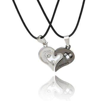 "2pcs Heart-shape ""I Love You"" Stainless Steel Necklace Puzzle Pendant Necklace Couple Lovers Half Heart Pendant-Black"