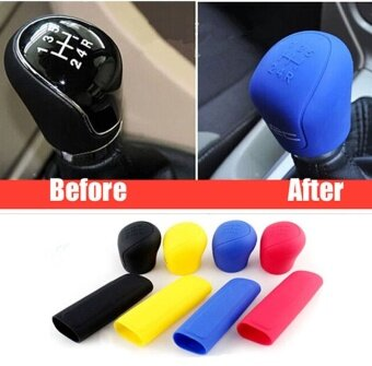 2Pcs Universal Manual Car Silicone Gear Head Shift Knob Cover Gear Shift Collars Handbrake Grip Car Hand Brake Covers Case Black