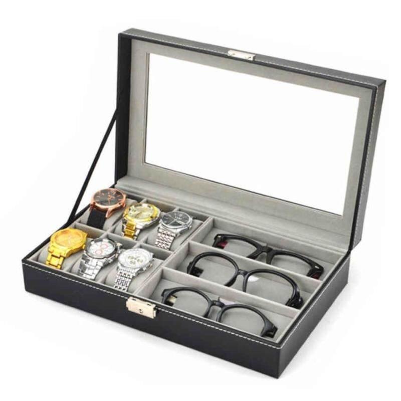 [33*20*7cm] 3 Grid Sunglasses 6 Cell  PU Leather Watch Display Storage Box Case Organizer Malaysia