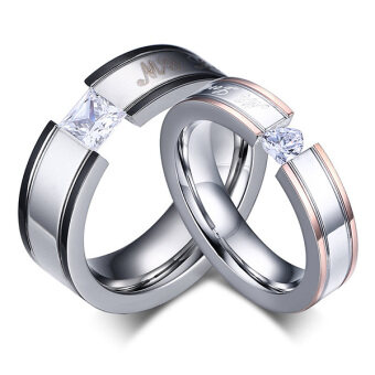 """My Love"" Cubic Zirconia Stainless Steel Couples Engagement Wedding Bands Rings For Men Women"