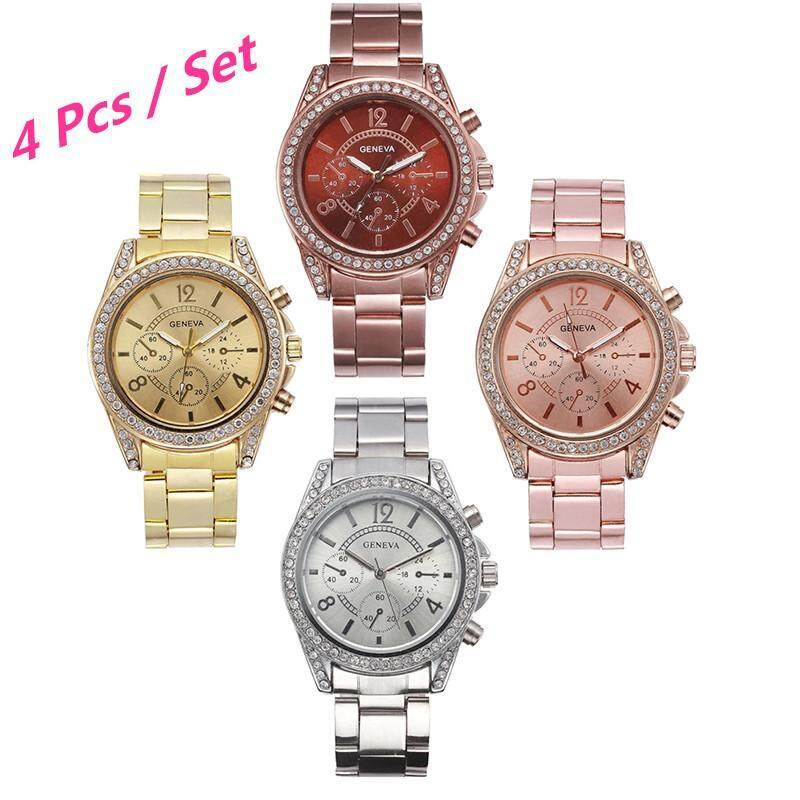 4 Pcs / Set Geneva 1314 Fashion Womens Watches Diamond Alloy Watch Wrist Watches ( Rose Gold,Gold,Silver,Coffee Gold) Malaysia