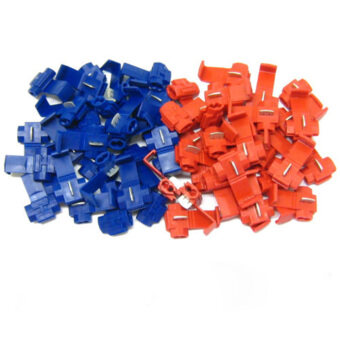 50Pcs Red Blue Snap On Connector Crimp Wire Splicer Terminal LockSplice Cable