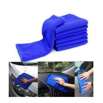6PCS Car Auto Care Microfiber Cleaning Towels Wash Cloth BlueAbsorbent
