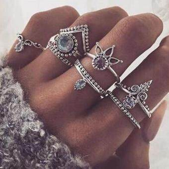 8 Pcs/Set Bohemian Carved Gemstone Knuckle Ring Women Vintage MidRing Jewelry(silver)