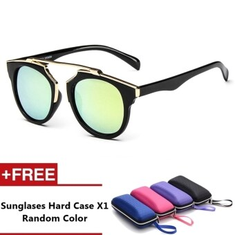 Anzio Brand Unisex Retro Aluminum Sunglasses Polarized Lens VintageEyewear Accessories Sun Glasses For Men/Women (Black+Gold)