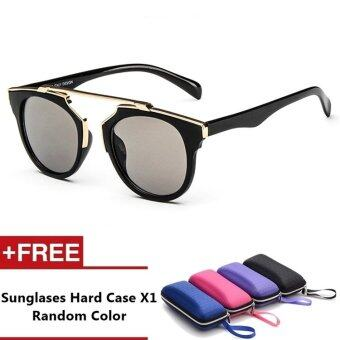 Anzio Brand Unisex Retro Aluminum Sunglasses Polarized Lens VintageEyewear Accessories Sun Glasses For Men/Women (Black+Grey)
