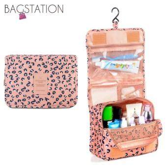 BAGSTATIONZ Printed Multipurpose Travel Organizer and Toiletries Pouch (Pink)
