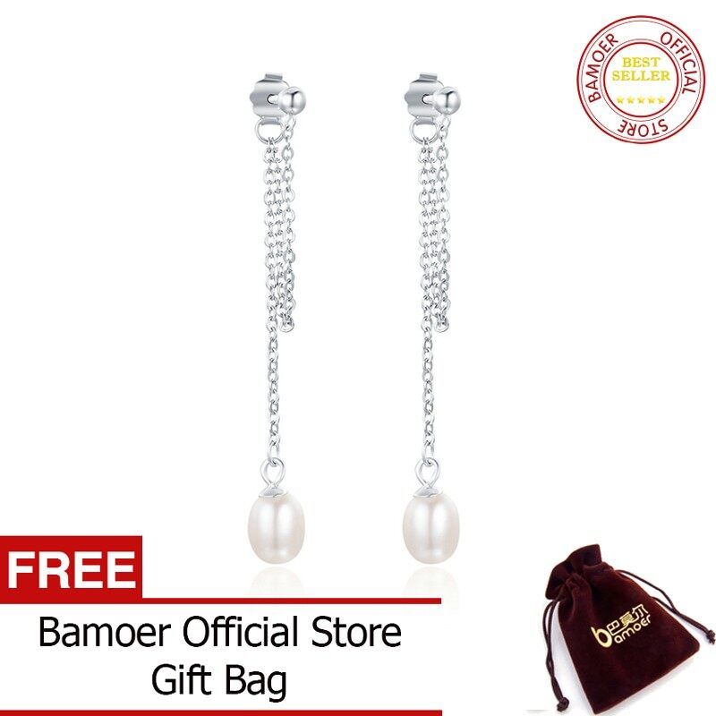 BAMOER 925 Sterling Silver Rhyme Of Light & Freshwater Pearl Long Tassel Drop Earrings for Women Fine Jewelry Bijoux SCE103 - intl