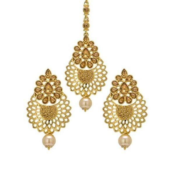 Bindhani Pernikahan India Bollywood Pakistan Kepala Perhiasan Pengantin Maang Tikka Mang Tika Anting-Anting untuk Wanita-Internasional