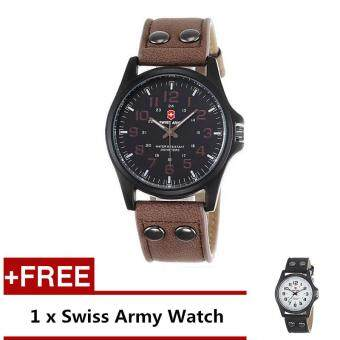 (Buy 1 Get 1 Free) Swiss Army Men's Watches Leather Strap WatchBlack Dark Brown + Free Swiss Army Watch Black White