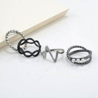 BUYINCOINS 4 Pcs Hot Fashion Punk Women Black Silver Above BandMidi Knuckle Ring Rings Set