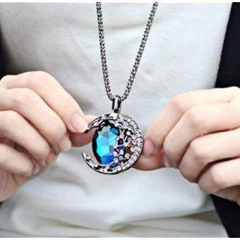 Buyinhouse Antique Retro Vintage Feel Blue Ruby Rhinestone MoonPendant Long Chain Necklace Suitable for Female Sweater