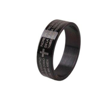 Buytra Men's Finger Rings Bible Text Titanium Steel Cross Ring forMen's Gifts Black