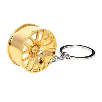 Car Wheel Rim Model Key Chain Wheel Hub Auto Accessories Decors KeyRing Metal Keychain