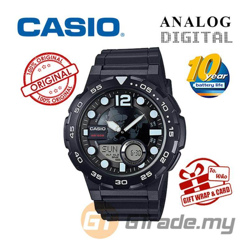 CASIO STANDARD AEQ-100W-1AV Analog Digital Watch - World Time Map Malaysia