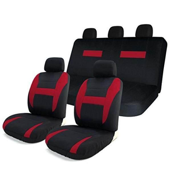 Copap 8 Pcs Car Seat Covers Hitam & Merah Universal Cocok untuk Truk, SUV & Vans W/Tas Penyimpanan Airbag Kompatibel Detachable Headrest (Hitam & Merah)-Intl