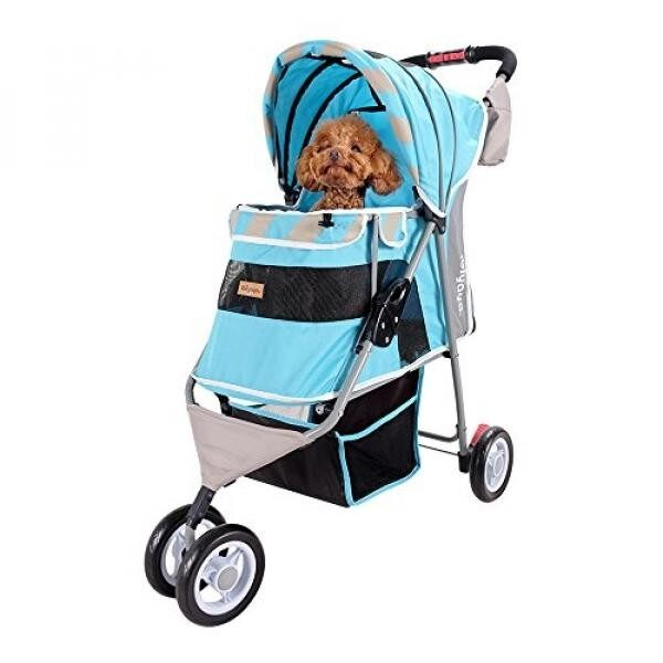 Dog Stroller – Matte Edition Diagonal Stripes Pet Stroller – The Ultimate Fashion Accessory for Dogs (Ocean Blue) - intl