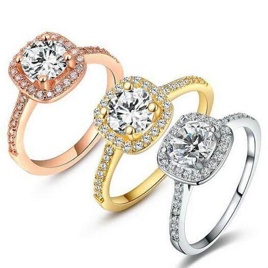 Pertunangan Lingkaran untuk Wanita, China Kuning Gold & Mawar Gold & Putih Gold Warna Cincin Kawin Kubik Zirkonia Perhiasan Ibu Hari hadiah-Internasional