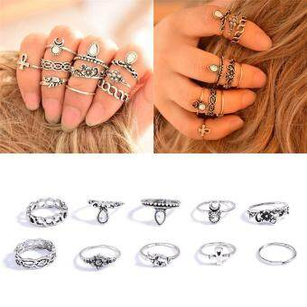 Fantastic Flower 10 pcs/Set Vintage Midi Rings Set Rhinestones Insert Steampunk Rock Stackable Knuckle Rings for Women Anel Joint Ring -Silver