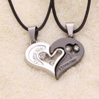 "Fantastic Flower 2pcs Heart-shape ""I Love You"" Stainless SteelCouple Lovers Half Heart Pendant Necklace Puzzle pendantnecklace(One Pair)"