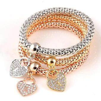 Fantastic Flower 3Pcs In One Unisex Bracelets Fashion 18K Gold Plated Silver Rose Gold Metal Elastic Rhinestones Heart Pendant Love Bracelet Casual Chain Women Bangle Jewelry (Color: Multicolor)