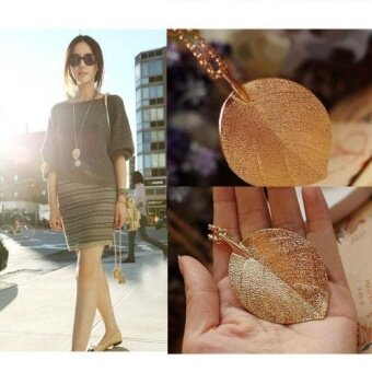 Fashion Elegant Lucky Golden Leaf Pendant Necklace Long SweaterChain Lady