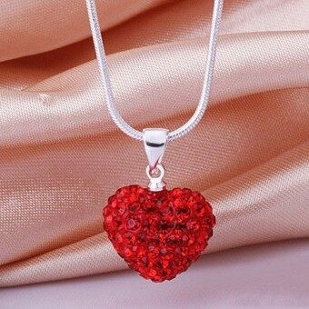 Fashion Heart Crystal 925 Sterling Silver Snake Chain PendantNecklace Jewelry