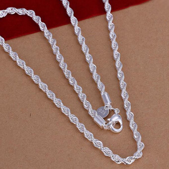 Fashion Jewelry 925 Sterling Silver 4mm Twisted Rope Chain Necklace