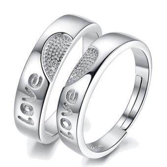 Fashion Lovers Rings Silver Adjustable Couple Ring Jewelry E009