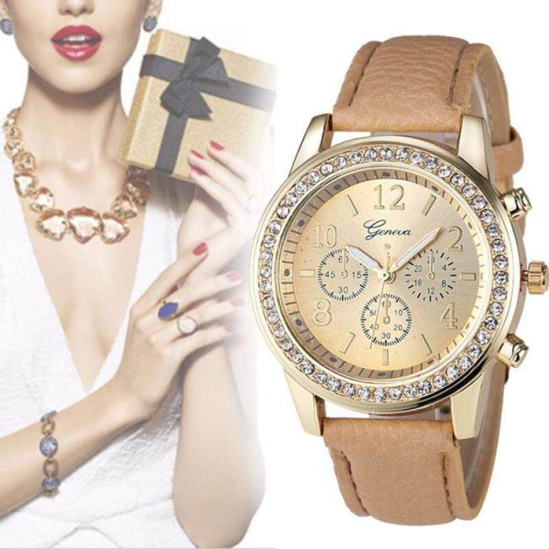 Fashion New Geneva Women Leather Band Stainless Steel Quartz Analog Wrist Watch Brown Malaysia