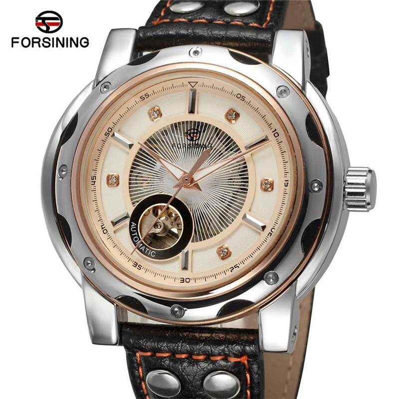 FORSINING Stainless Steel Case Genuine Leather Strap Men Male Fashion Business Sport Casual .