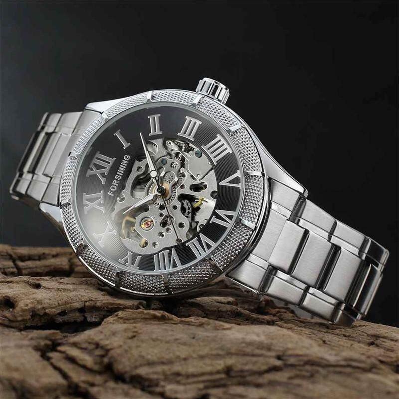 FORSINING Stainless Steel Case Stainless Steel Strap Men Male Fashion Business Sport Casual .