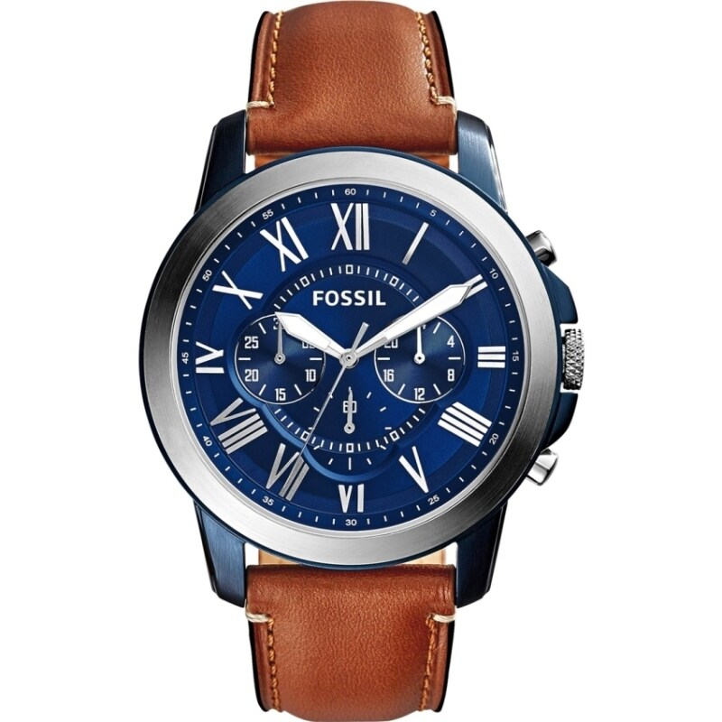 FOSSIL FS5151 Grant Blue Dial Chronograph Leather Mens Watch Malaysia
