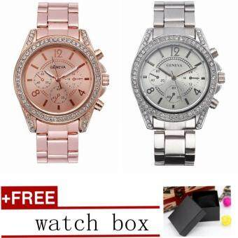 Geneva Woman Watch Alloy Watch with Drill Quartz Watch Fashion Ladie Watch 2pcs