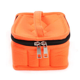 HengSong Portable 16 Bottles Essential Oil Bag Carrying Case DoubleZipper Travel Makeup Cosmetic Bag Orange